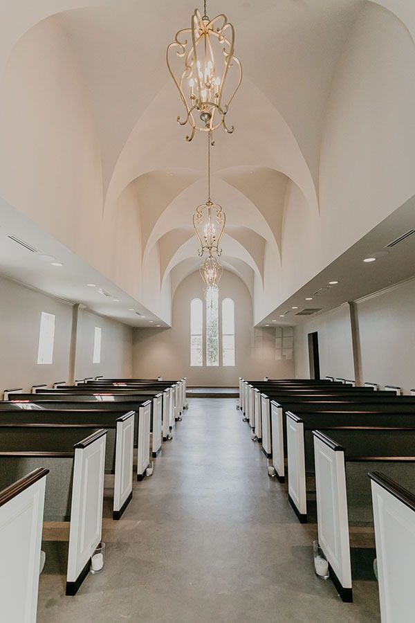 Image of the chapel and pews at the Montclair