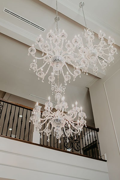 Chandelier hanging over the entryway to Montclair
