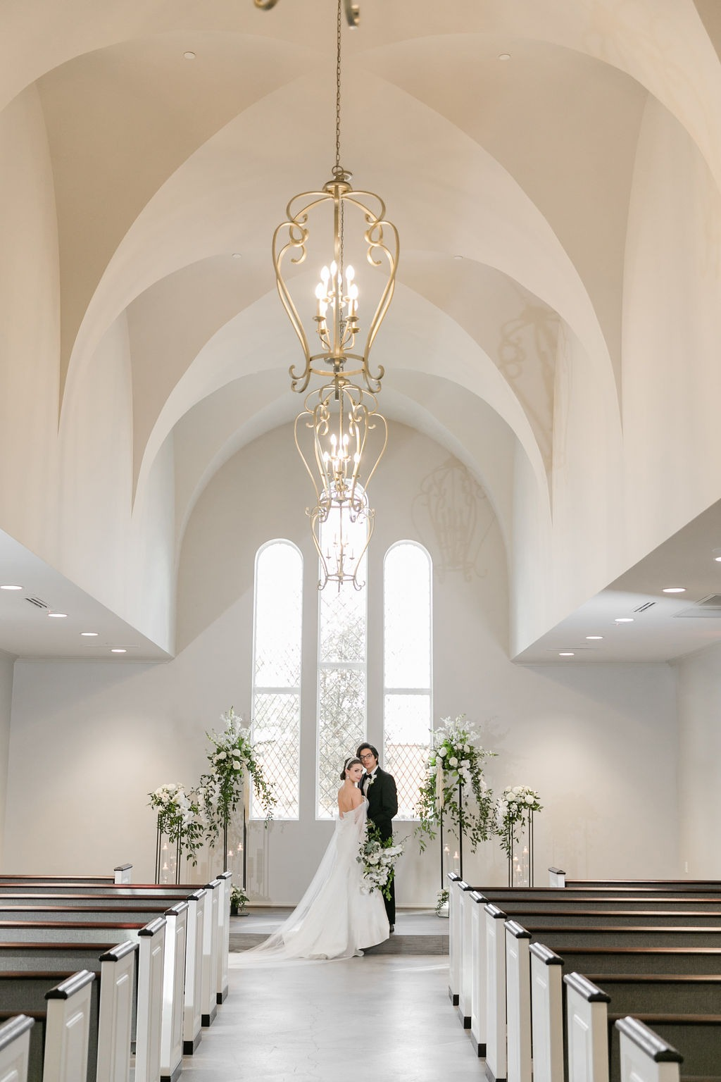 Bride and Groom in Montclair chapel J Sharapova Photography